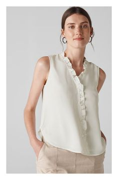 New Whistles Maddie Frill Top ,Fashion Women Clothing sale, black friday sale - Herren- und Damenmode - Kleidung Online Fashion, Latest Fashion For Women, Womens Fashion, Ladies Fashion, Fashion Stores, Spring Fashion Outfits, Fashion Tips, Fashion Ideas, Frill Tops