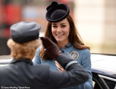 Kate Middleton attends church service honoring the 75th anniversary of the Royal Air Force Cadets. This was Kate's first engagement as the Cadets Honorary Air Commandant. Kate wore Alexander McQueen's utility coat, Rupert Sanderson's 'Malory' heel in navy suede, a Lock and Company hat, the Stuart Weitzman 'Muse' clutch & Cornelia James' 'Imogen' gloves in navy suede. - 2/7/2016