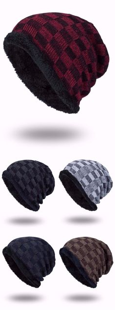 Outdoor Checked Pattern Velvet Slouchy Beanie