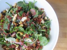 Warm Kale Salad with Bacon Dressing