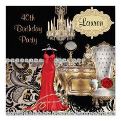 40TH BIRTHDAY VINTAGE BLING  Invitation