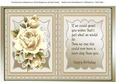 Incert with Verse and cream roses  on Craftsuprint designed by Ceredwyn Macrae - A lovely incert with Verse and roses to compliment any card there is a matching Decoupage sheet to go with this design please see the Related sheet , - Now available for download!