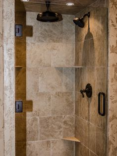 Traditional Classic Decoration Style Bringing Exotic Design Impression: Striking Traditional Shower With Travartine Tile Backsplash Southlak...