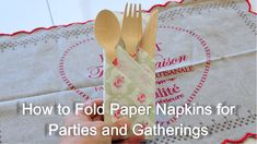 In this video, I'll show you step-by-step on how to fold paper napkins for your parties and gatherings. They are adorable and you can put the knife, fork, an...
