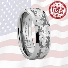 SMOKESCREEN 6MM / 8MM   Featuring our exclusive digital camo pattern, the SMOKESCREEN is the lastest in hi-tech wedding rings. Made from durable tungsten carbide and complete with precise polished beveled edges, this digital camo ring is completed with its pattern engraved on the flat center section. Ready to ship in 1 business day, you can choose from 6mm or 8mm width for your wedding band or gift to the military man or hunter in your life.
