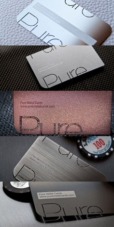 Pure Metal Cards Real Metal Business Cards Business Cards Layout, Metal Business Cards, Premium Business Cards, Luxury Business Cards, Unique Business Cards, Professional Business Cards, Business Card Design Inspiration, Business Design, Ticket Design