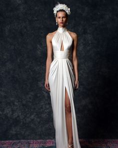 """Magnolia"" charmeuse sheath wedding dress with halter neck, cutout in bodice, and front slit Naeem Khan Wedding Dresses, Stunning Wedding Dresses, New Wedding Dresses, Cocktail Length Dress, Long Cocktail Dress, Formal Evening Dresses, Evening Gowns, Bridal Jumpsuit, Lace Ball Gowns"