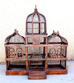 Antique Large Domed Victorian Style Wood And Wire Birdcage Bird Cagesvintage