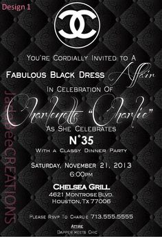 Classy Coco Chanel Theme Invitation (Birthday, Bridal, Baby Shower) on Etsy, $14.99