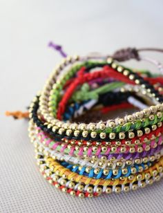 WRIST CANDY//Handmade Multi-colored Twisted Beaded Bracelets $7.00