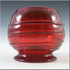 Whitefriars Ruby Red Glass Ribbon Trail Bowl #9366 - £30.00