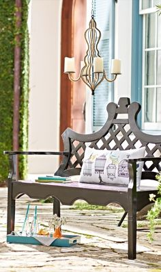 Delight in the sculpted silhouette of our Luciana® outdoor bench—you'll only find it here.
