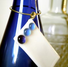 Wine bottle charm, blue and white, baby boy personalize gift. $6.00, via Etsy.