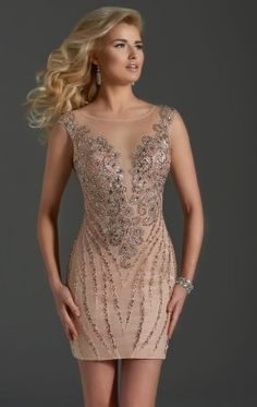Beaded Fitted Dress by Clarisse 2674