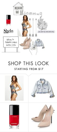 """Bez naslova #40"" by rizroz ❤ liked on Polyvore featuring Hollister Co., Chanel and Casadei"