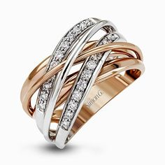 The intertwined design of this contemporary two-tone band is highlighted by .36 ctw of glistening round cut white diamonds set in rose and white gold.