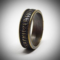 Elder Futhark rune ring, Brass jewelry for men or women, Size 7 US #men'sjewelry