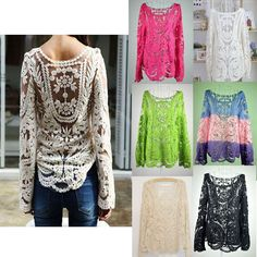 Hot! Sexy Women's Semi Sheer Long Sleeve Lace Crochet Top Blouse Floral T-Shirt | ebay