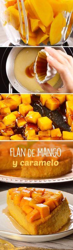 Prepara este rico flan que es una combinación de mango con caramelo. Es un postre fácil y rico, con una inigualable textura suave y delicada, decorado con dulces mangos caramelizados.