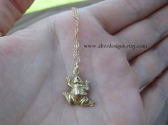 Frog Charm Necklace alterdesigns on Etsy, $22.00 must have!
