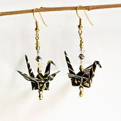 Black Earrings,Origami Earrings,Handmade Earrings,Elegant Earrings,Holiday Earrings,Dangle Earrings,Origami Jewelry,Party Earrings,