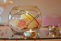 flowers and crystals arrangements | Wedding table centre – Crystal package | Deans Chair Covers - Chair ...