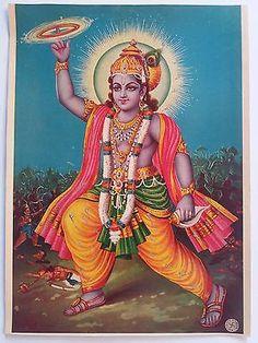 Indian Vintage Mythological Hindu Gods Litho Print-shri Krishna Virat Roop