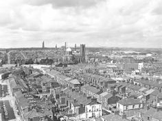*TRay URU - ready steady - what to knock down now..........mmmm  * MCL/4/9 Black and white aerial photograph showing Lowe House Church, St.Helens, 1974.             MCL - Clare Collection 4 - Black and white photographs taken from Beecham's Tower, St.Helens