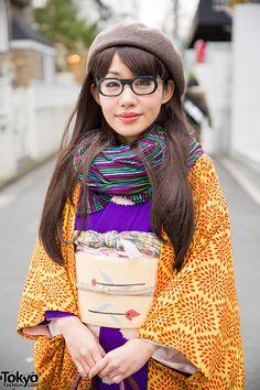 Purple & Orange Kimono | This is coolest way to wear a kimono I've ever seen.