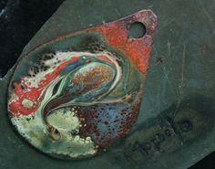 large focal swirl pendant with raku glass and enamel lampwork jewelry supplies 1pc 4ophelia