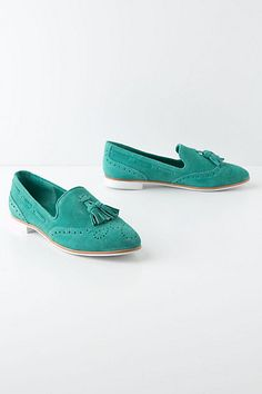 Omg so cute in the mint.  Frankie Suede Loafers #anthropologie