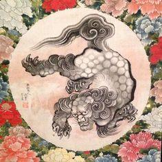 Katsushika Hokusai painting on silk BFA museum #hokusai #fudog #peonies #japaneseart by moirahahnart
