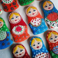 Russian doll cookies~         By Tamarini Medenjaci, #, red, Blue, green, Yellow