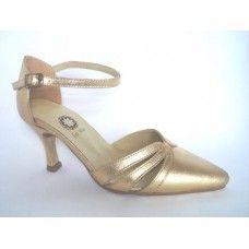 Sapato em couro Metalizado Ouro. La Vile Calçados em couro legítimo. Calçados que produzimos através de encomendas do nº 30 ao nº 33 www.lavile.com.br