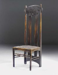 A dark stained oak high-backed chair  DESIGNED BY CHARLES RENNIE MACKINTOSH FOR THE ARGYLE STREET TEA ROOMS, GLASGOW, 1898