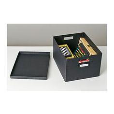 """$3.99 - TJENA Box with lid, black - 10 ¾x13 ¾x7 ¾ """" - IKEA"""