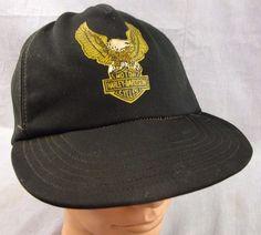90005f5e02d Harley Davidson Vintage Hat Adjustable Snapback Cap Biker Trashed Black  Mesh…