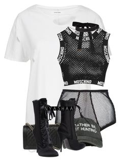 """Untitled #130"" by nyashaa ❤ liked on Polyvore featuring Fleur du Mal, Chanel, Giuseppe Zanotti, Cybele and Moschino"