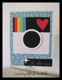 "Handmade Card Polaroid Camera ""Oh Snap"" Thank You Card  All pieces hand cut - used circle stencil for lens"