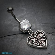 Steampunk Antique Heart Belly Button Ring