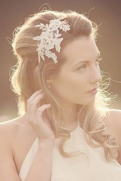 Anais Lace Headpiece by Silver Sixpence in her shoe