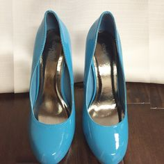 Blue Heels These heels are so fun and will give any outfit a pop of color. They have a 5 inch heel with a 1 inch platform and they've never been worn. Charlotte Russe Shoes Heels