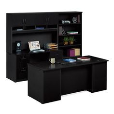 Executive Desk and Locking Storage Wall Set #officefurniture #contemporary | National Business Furniture