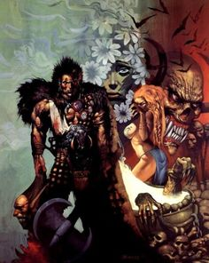 Created by legendary 2000 AD founder Pat Mills, Sláine reached his high point with the over-the-top style of artist Simon Bisley. Inspired by Celtic myth, Sláine had a mystic quality that set him apart from the more famous Conan. Simon Bisley, Sci Fi Books, Comic Books Art, Comic Art, Book Art, Cartoon Books, Fantasy Comics, Fantasy Art, Fantasy Sword
