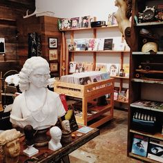 """Melet Mercantile in Montauk  #refinery29  http://www.refinery29.com/how-to-thrift-shop-tips#slide6  Melet Mercantile also stocks a lot of other items, like these vinyls and ceramic busts. CB: """"It was like walking into an archive of the coolest pop cultural totems and iconography that you could ever imagine. I mean, the selection of records that [Bob] had wasn't just Rolling Stones records. It was an obscure Rolling Stones record with a beautiful graphic image on the cover of the 45."""""""