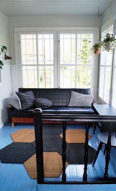 lasiveranta, kuisti, retrohenkinen, 50-luvun sohva, porch, veranda