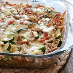 Need an easy weeknight dinner, healthy casserole, or freezer meal? This Make-Ahead Cheesy Zucchini and Turkey Casserole is it! Gluten-free and full of veggies, this is classic, yet super nourishing comfort food. Freezes well, too! #betsylife #healthyweeknightdinners #healthycasserolerecipes #glutenfreecasserole
