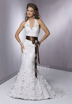 Chic Floor Length Mermaid Halter Lace Wedding Gowns With Sash $358.99 Lace Wedding Dresses