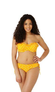 NEW Betty bandeau bikini in yellow spot, up to G cup, http://www.panache-lingerie.com/en/products/details/cleo-swim-by-panache/betty/padded-bandeau-bikini/a #cleoswim #swimwear #bikini #bandeau #yellow #spot #beachwear #bright