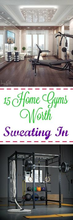 15 Home Gyms Worth Sweating In: Need some help with motivation? A gorgeous, stylish home gym will make you want to spend hours sweating in there every week.